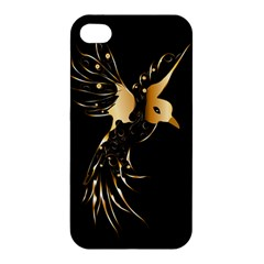Beautiful Bird In Gold And Black Apple Iphone 4/4s Premium Hardshell Case