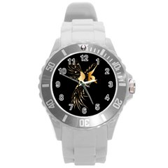 Beautiful Bird In Gold And Black Round Plastic Sport Watch (l)