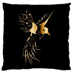 Beautiful Bird In Gold And Black Large Cushion Cases (two Sides)  by FantasyWorld7