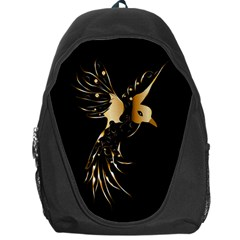 Beautiful Bird In Gold And Black Backpack Bag
