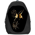 Beautiful Bird In Gold And Black Backpack Bag Front