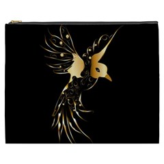 Beautiful Bird In Gold And Black Cosmetic Bag (xxxl)