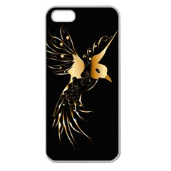 Beautiful Bird In Gold And Black Apple Seamless Iphone 5 Case (clear)