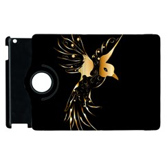Beautiful Bird In Gold And Black Apple Ipad 2 Flip 360 Case