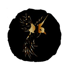 Beautiful Bird In Gold And Black Standard 15  Premium Round Cushions