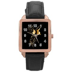 Beautiful Bird In Gold And Black Rose Gold Watches