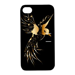 Beautiful Bird In Gold And Black Apple Iphone 4/4s Hardshell Case With Stand by FantasyWorld7