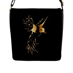 Beautiful Bird In Gold And Black Flap Messenger Bag (l)