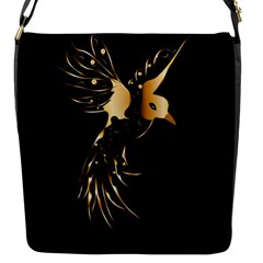 Beautiful Bird In Gold And Black Flap Messenger Bag (s)