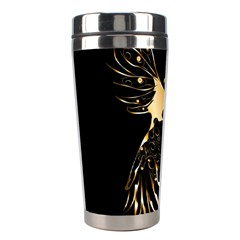 Beautiful Bird In Gold And Black Stainless Steel Travel Tumblers