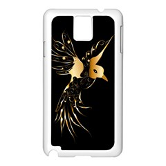Beautiful Bird In Gold And Black Samsung Galaxy Note 3 N9005 Case (white)