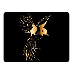 Beautiful Bird In Gold And Black Double Sided Fleece Blanket (small)