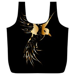 Beautiful Bird In Gold And Black Full Print Recycle Bags (l)