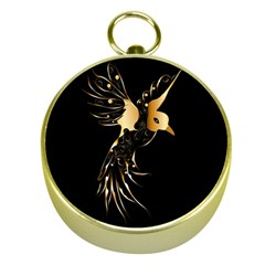 Beautiful Bird In Gold And Black Gold Compasses