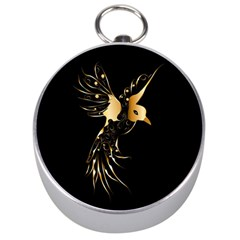 Beautiful Bird In Gold And Black Silver Compasses