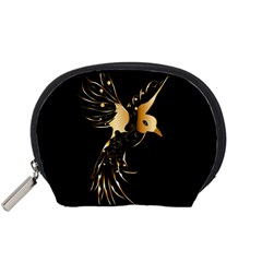 Beautiful Bird In Gold And Black Accessory Pouches (small)