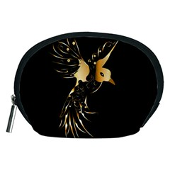 Beautiful Bird In Gold And Black Accessory Pouches (medium)