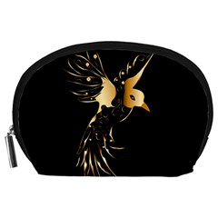 Beautiful Bird In Gold And Black Accessory Pouches (large)