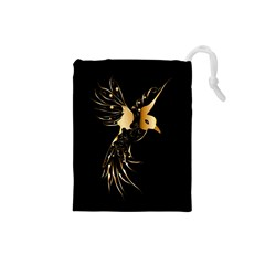 Beautiful Bird In Gold And Black Drawstring Pouches (small)