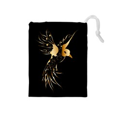 Beautiful Bird In Gold And Black Drawstring Pouches (medium)