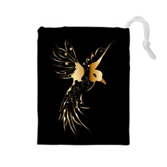 Beautiful Bird In Gold And Black Drawstring Pouches (large)