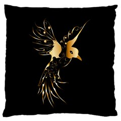 Beautiful Bird In Gold And Black Large Flano Cushion Cases (one Side)