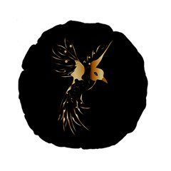 Beautiful Bird In Gold And Black Standard 15  Premium Flano Round Cushions