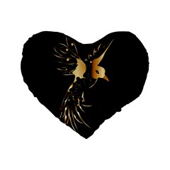 Beautiful Bird In Gold And Black Standard 16  Premium Flano Heart Shape Cushions