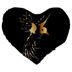 Beautiful Bird In Gold And Black Large 19  Premium Flano Heart Shape Cushions