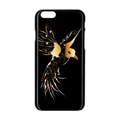 Beautiful Bird In Gold And Black Apple Iphone 6 Black Enamel Case