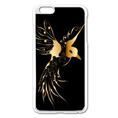 Beautiful Bird In Gold And Black Apple Iphone 6 Plus Enamel White Case