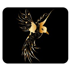 Beautiful Bird In Gold And Black Double Sided Flano Blanket (small)