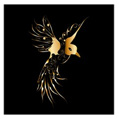 Beautiful Bird In Gold And Black Large Satin Scarf (square)