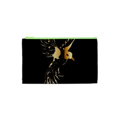 Beautiful Bird In Gold And Black Cosmetic Bag (xs)