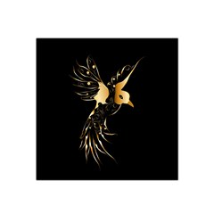 Beautiful Bird In Gold And Black Satin Bandana Scarf