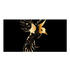 Beautiful Bird In Gold And Black Satin Shawl