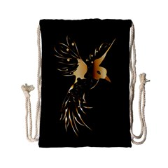 Beautiful Bird In Gold And Black Drawstring Bag (small)