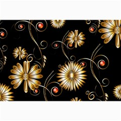 Golden Flowers On Black Background Collage 12  X 18  by FantasyWorld7