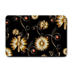Golden Flowers On Black Background Small Doormat  by FantasyWorld7