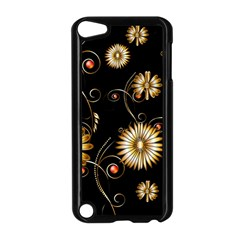 Golden Flowers On Black Background Apple Ipod Touch 5 Case (black)