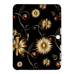 Golden Flowers On Black Background Samsung Galaxy Tab 4 (10 1 ) Hardshell Case  by FantasyWorld7