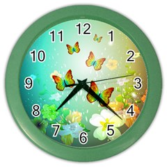 Flowers With Wonderful Butterflies Color Wall Clocks by FantasyWorld7