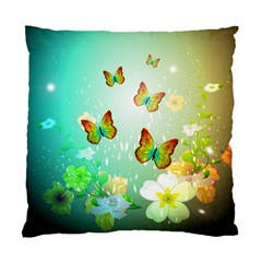 Flowers With Wonderful Butterflies Standard Cushion Case (one Side)  by FantasyWorld7