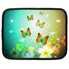 Flowers With Wonderful Butterflies Netbook Case (xxl)  by FantasyWorld7