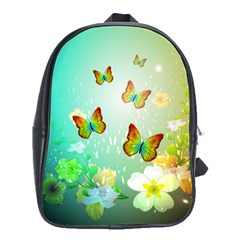 Flowers With Wonderful Butterflies School Bags(large)  by FantasyWorld7