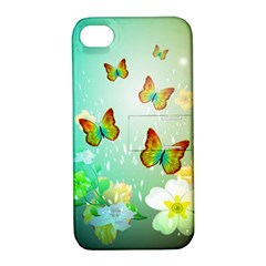 Flowers With Wonderful Butterflies Apple Iphone 4/4s Hardshell Case With Stand by FantasyWorld7