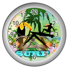 Surfing Wall Clocks (silver)  by FantasyWorld7
