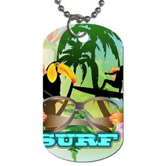 Surfing Dog Tag (two Sides) by FantasyWorld7