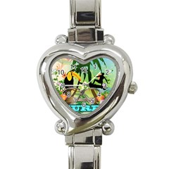 Surfing Heart Italian Charm Watch by FantasyWorld7