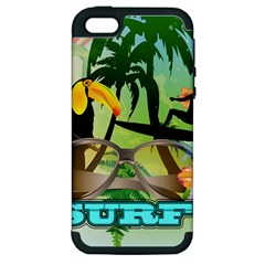Surfing Apple Iphone 5 Hardshell Case (pc+silicone) by FantasyWorld7